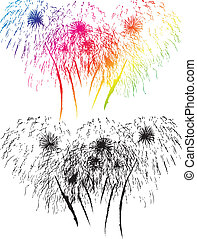 Firework - Black and color firewok on white background