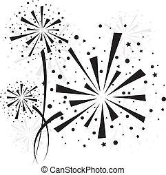 Firework black - Big black fireworks on white background....