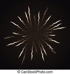 Firework burst isolated on dark background. Vector design element.