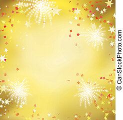 Firework celebration golden background. Celebrating golden and red theme for festival and holiday