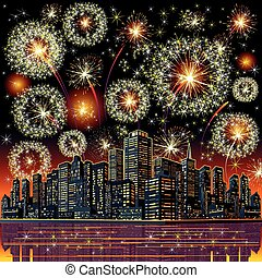 Firework City At Night. Vector