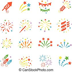 Firework color icon set with burst petard, stars. Festival celebrate and party.