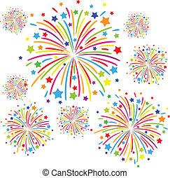 Firework - Colorful firework on white background. eps10