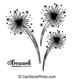 firework design over white background, vector illustration