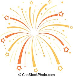 Firework design  with yellow and orange stars on white background