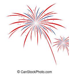 firework, disegno, bianco, fondo