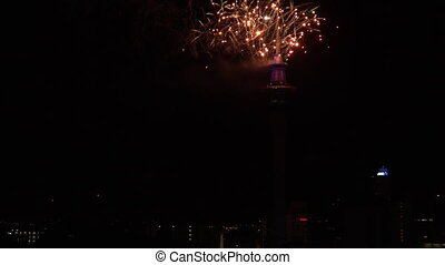 Firework display 2016 New Year - Auckland Sky Tower firework...