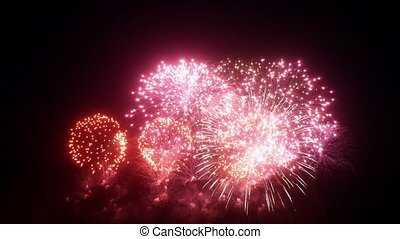 Firework display at night for New Year Christmas and other...