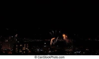 firework display at night in Montenegro, Budva, time lapse