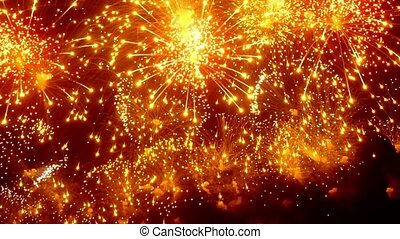 Firework display at night on black background. Bright...