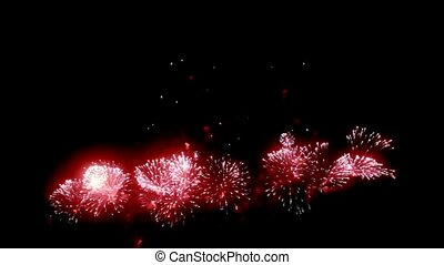 Firework display at night on black background.