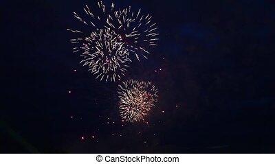 fireworks against the dark sky