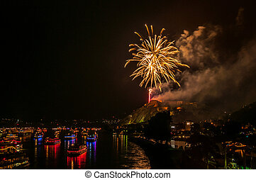 Rhine in Flames - firework display of Rhine in Flames in...