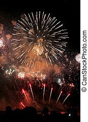 Firework Display - Peoples watching firework display at...