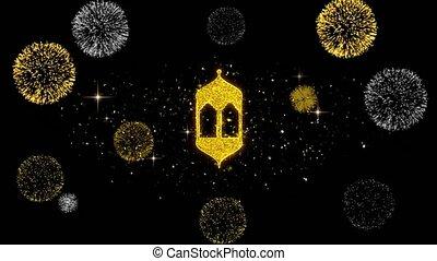 firework., doré, islam, islamique, monuments, monument, icône, particules, religieux, scintillement
