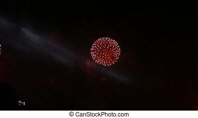 Firework exploding in the sky.