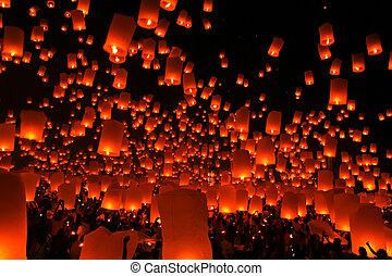 Firework Festival in Chiangmai Thailand