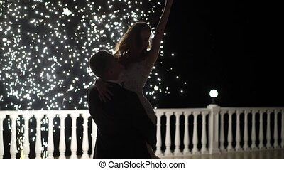 Firework fountains at the end of the wedding. People have...