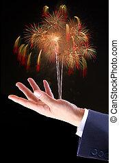 firework, hand