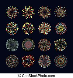 Firework Icon Flat Set