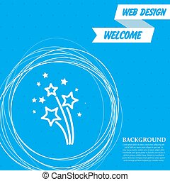 firework icon on a blue background with abstract circles around and place for your text. Vector