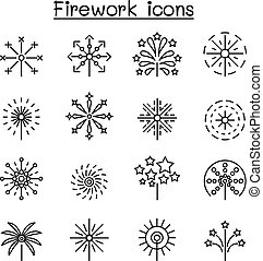 Firework icon set in thin line style