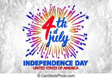 firework illustration celebrating Independence Day Vector Poster. 4th of July Lettering. American Red on Blue Background with Stars burst.