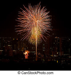 Firework in central of bangkok city, Thailand