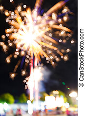 Firework in night fun fair carnival - Colorful blurry...