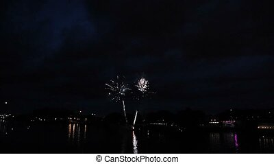Firework in the city at night