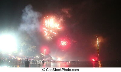 firework in the sky - AO-NANG, KRABI/THAILAND - JANUARY 01...