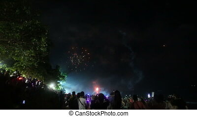 firework in the sky - KRABI, KRABI/THAILAND - JANUARY 01...