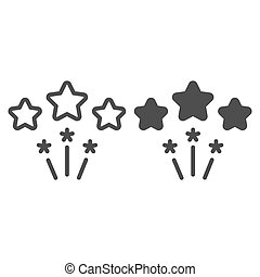 Firework line and glyph icon. Stars firework vector illustration isolated on white. Celebration outline style design, designed for web and app. Eps 10.