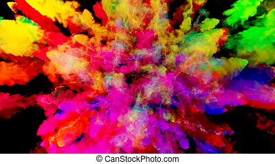 firework of paint, explosion of colorful powder isolated on...
