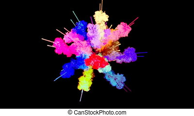 firework of paint, explosion of colorful powder isolated on black background. 3d animation as a colorful abstract background. Rainbow colors 27
