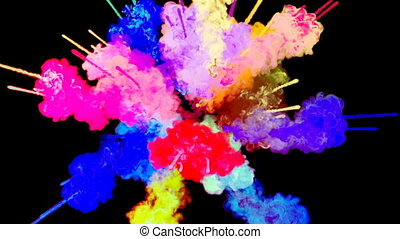 firework of paint, explosion of colorful powder isolated on black background. 3d animation as a colorful abstract background. Rainbow colors 25