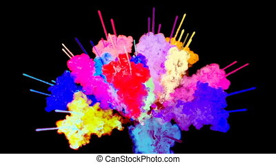 firework of paint, explosion of colorful powder isolated on black background. 3d animation as a colorful abstract background. Rainbow colors 19