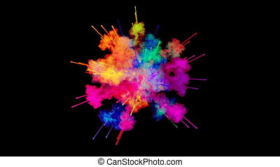 firework of paint, explosion of colorful powder isolated on black background. 3d animation as a colorful abstract background. Rainbow colors 51