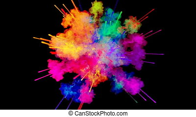 firework of paint, explosion of colorful powder isolated on black background. 3d animation as a colorful abstract background. Rainbow colors 49