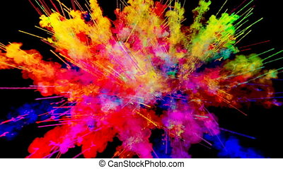 firework of paint, explosion of colorful powder isolated on black background. 3d animation as a colorful abstract background. Rainbow colors 58