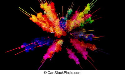 firework of paint, explosion of colorful powder isolated on black background. 3d animation as a colorful abstract background. Rainbow colors 60