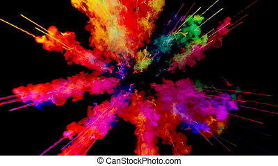 firework of paint, explosion of colorful powder isolated on black background. 3d animation as a colorful abstract background. Rainbow colors 62