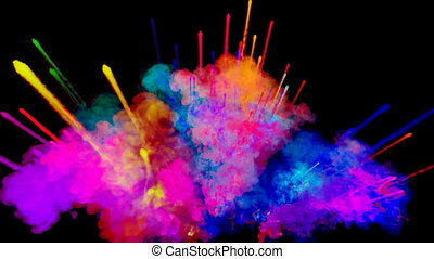 firework of paint, explosion of colorful powder isolated on black background. 3d animation as a colorful abstract background. Rainbow colors 34