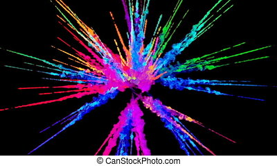 firework of paint, explosion of colorful powder isolated on black background. 3d animation as a colorful abstract background. Rainbow colors 66