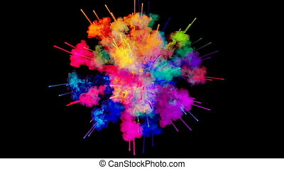 firework of paint, explosion of colorful powder isolated on black background. 3d animation as a colorful abstract background. Rainbow colors 4