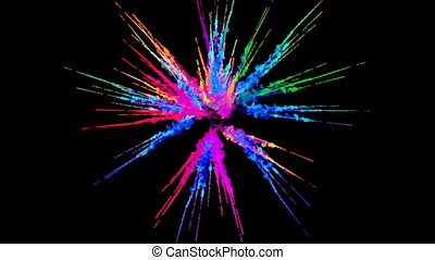 firework of paint, explosion of colorful powder isolated on black background. 3d animation as a colorful abstract background. Rainbow colors 2