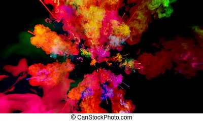 firework of paint, explosion of colorful powder isolated on black background. 3d animation as a colorful abstract background. Rainbow colors 12