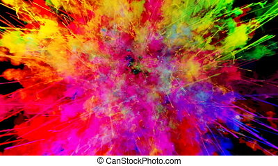 firework of paint, explosion of colorful powder isolated on black background. 3d animation as a colorful abstract background. Rainbow colors 42