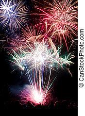 Firework on black background - Isolated shots of fireworks...