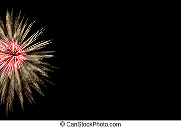 firework on black background with copy space